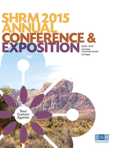 cover of brochure with colorful typography and cropped, desert photo within frame of flower shape